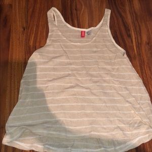 Divided Cream Stripped Tank Top